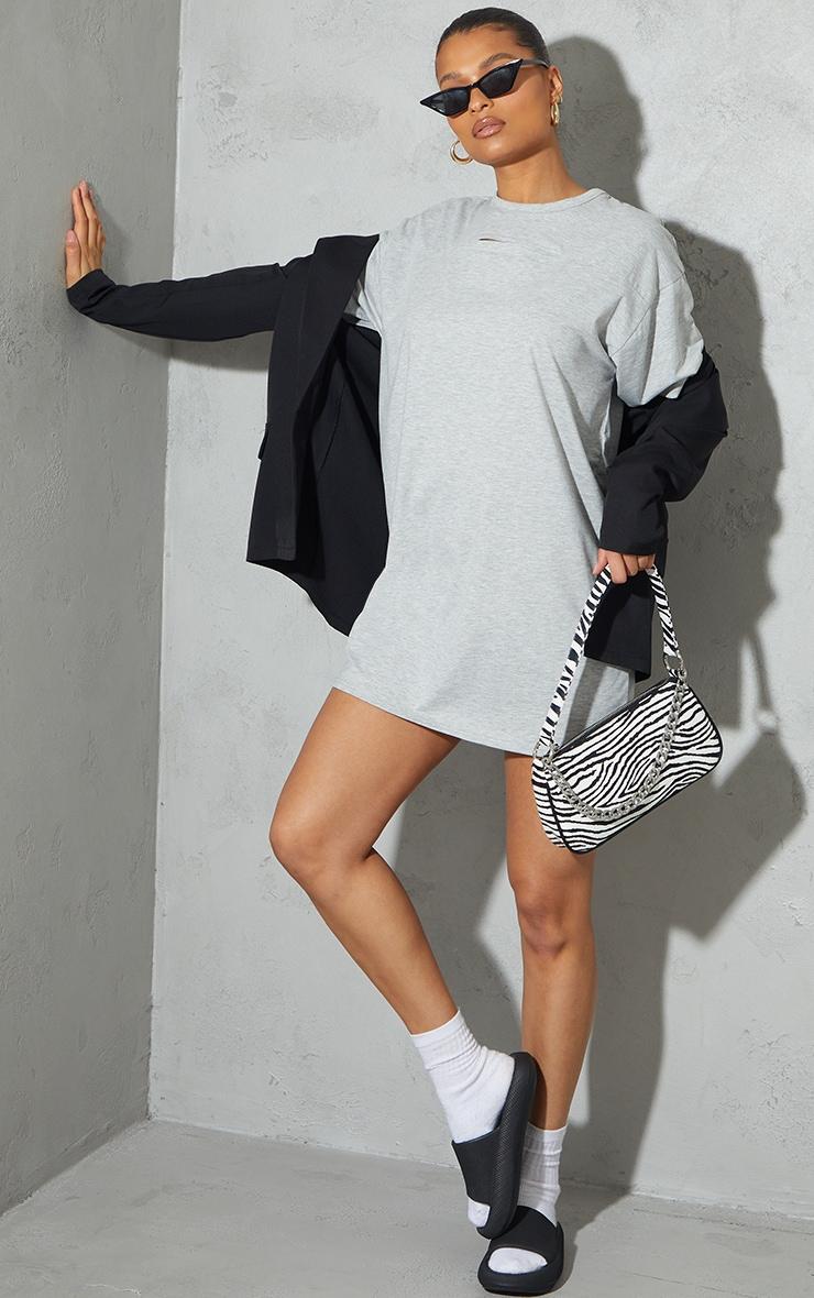 Grey Cut Out Detail Oversized T Shirt Dress 3
