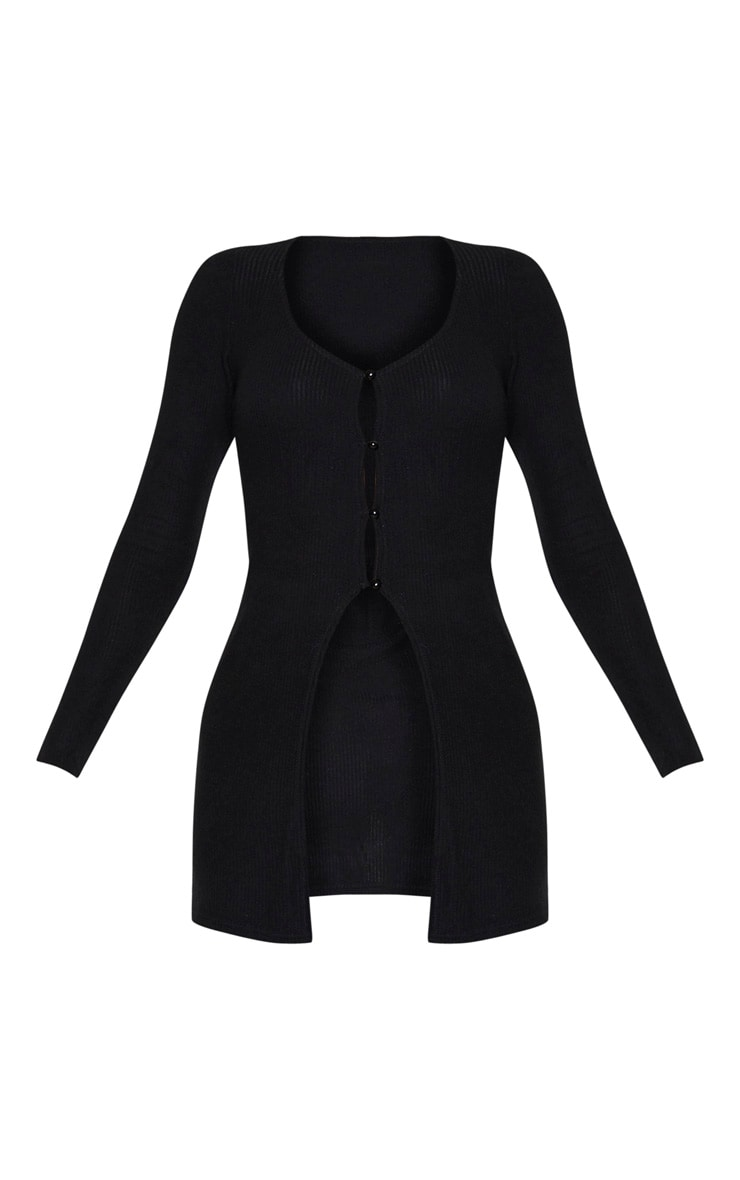 Tall Black Brushed Rib Long Sleeve Button Cardigan 3