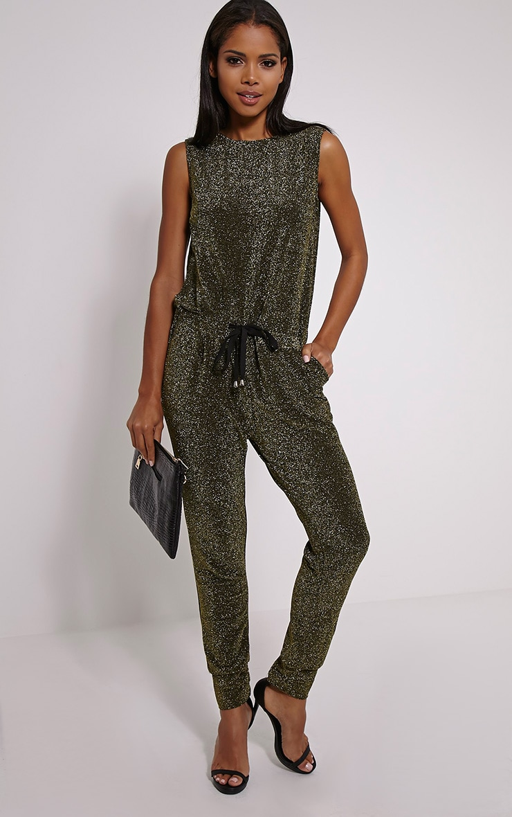 Monet Gold Glitter Jumpsuit 1