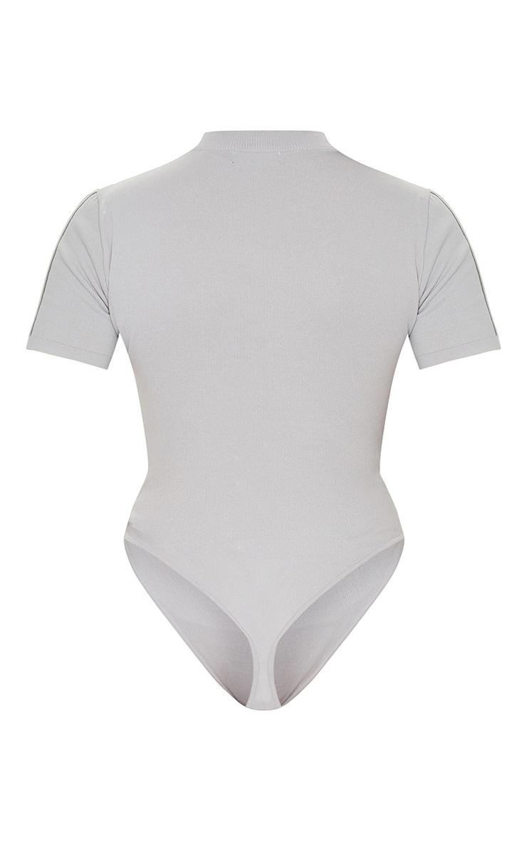 Grey Short Sleeve Seamless Knit Bodysuit 6
