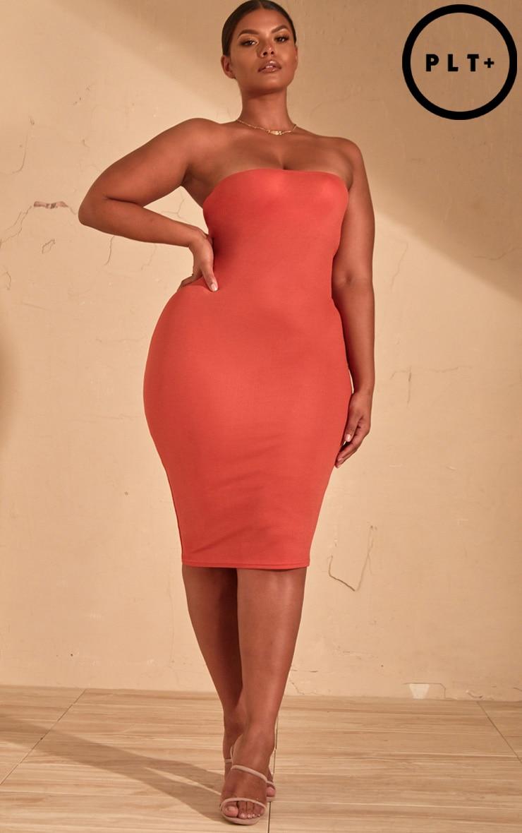 Plus Auburn Bandeau Midi Dress  1