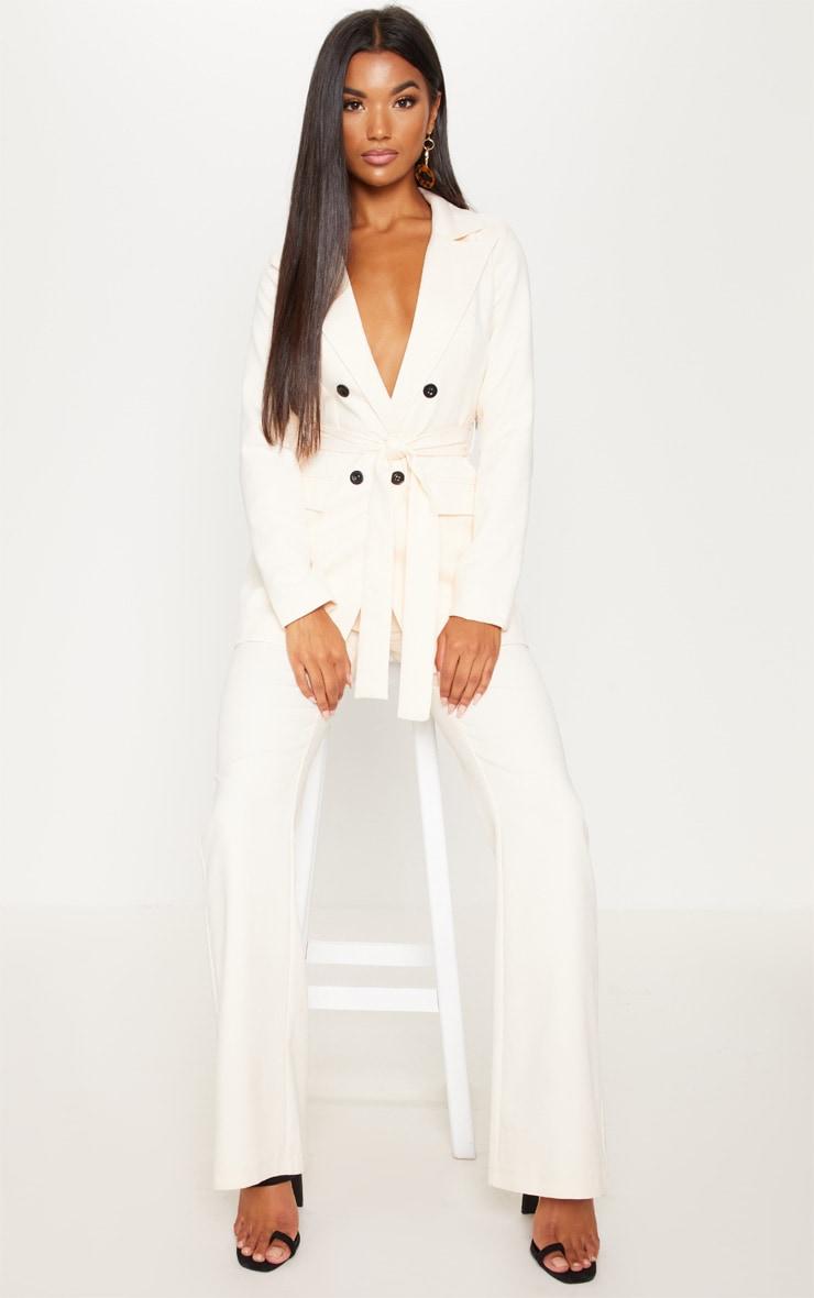 Cream Belted Longline Blazer  1