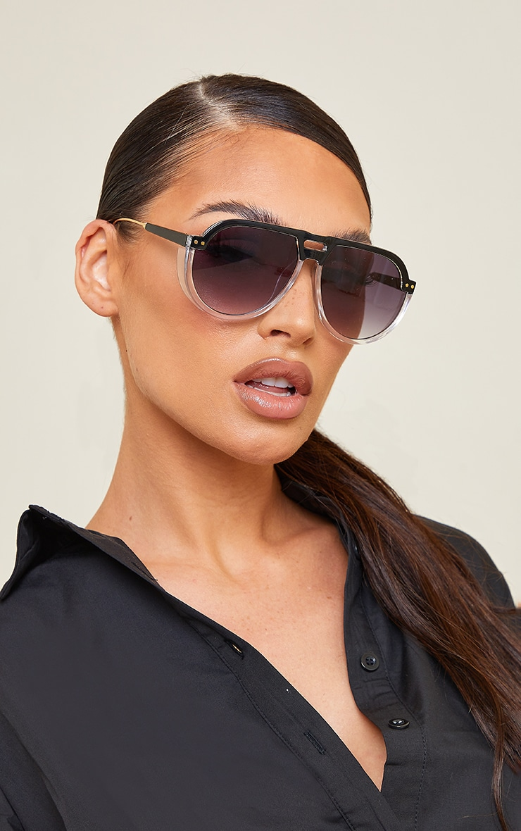 Black Ombre Double Bar Round Frame Sunglasses 1
