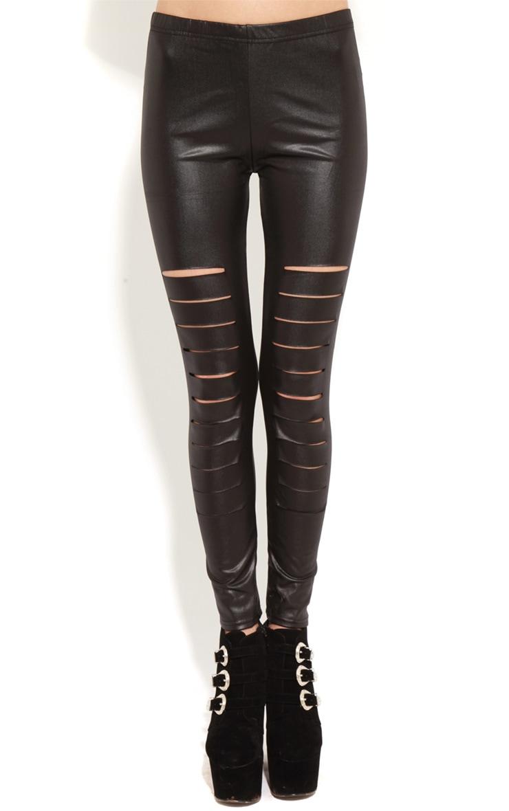 Lily Black Leather Slash Leggings 3