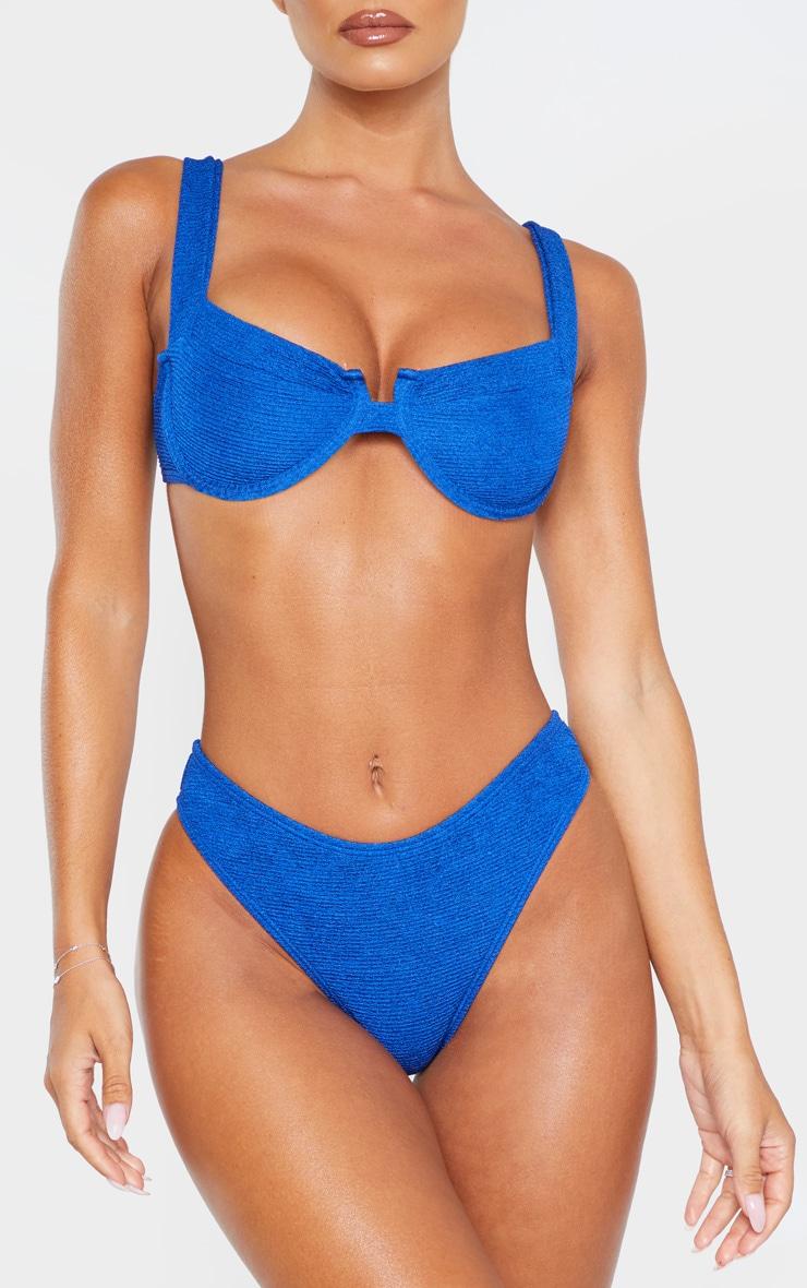 Blue Mini Crinkle Cheeky Bum Bikini Bottom 1