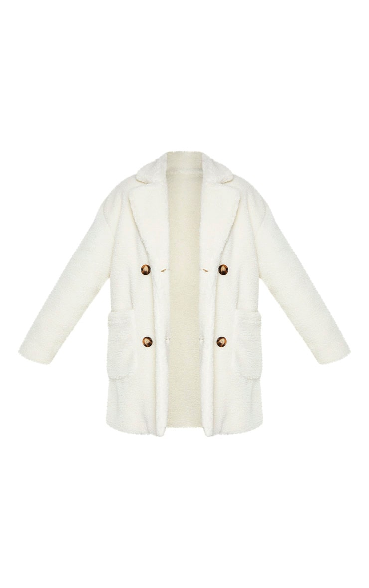 Plus Cream Borg Midi Coat 3