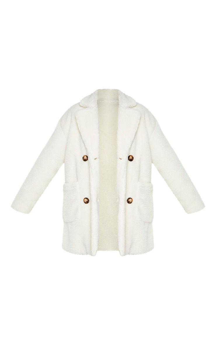 PLT Plus - Manteau mi-long en imitation peau de mouton crème 3