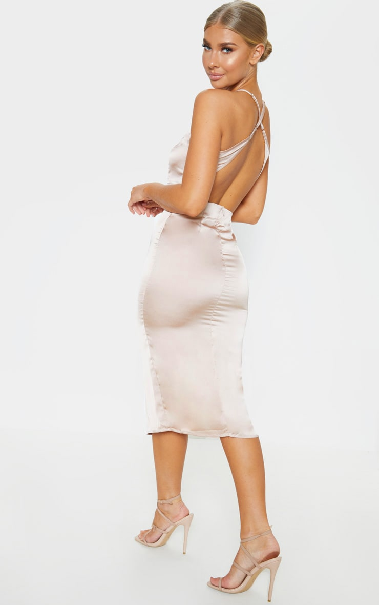 Nude Satin Backless Slip Dress 1