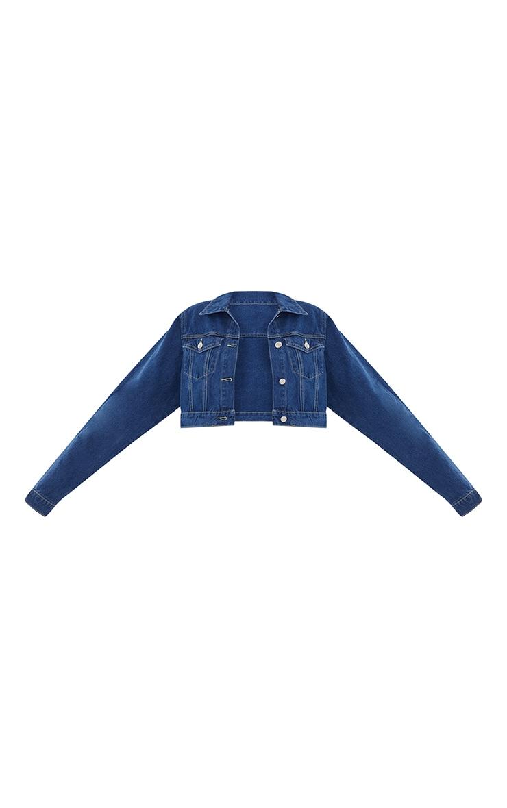 PRETTYLITTLETHING - Veste en jean indigo courte  5