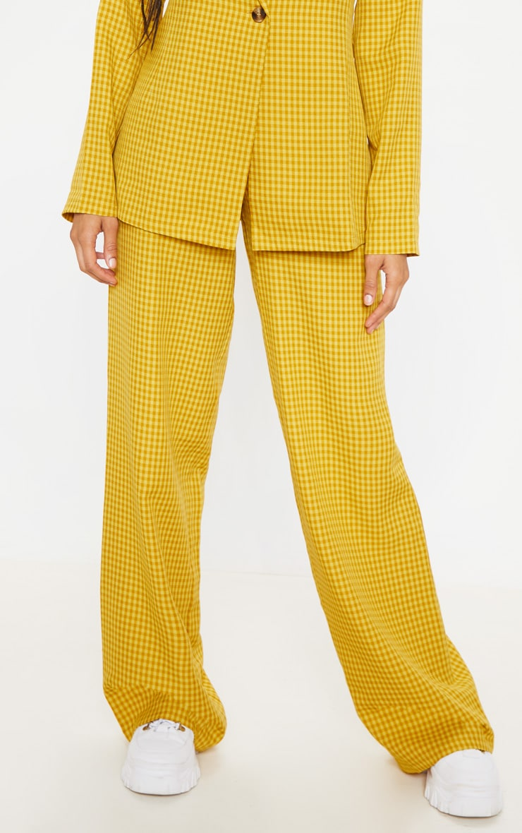 Yellow Check Wide Leg Pants 2