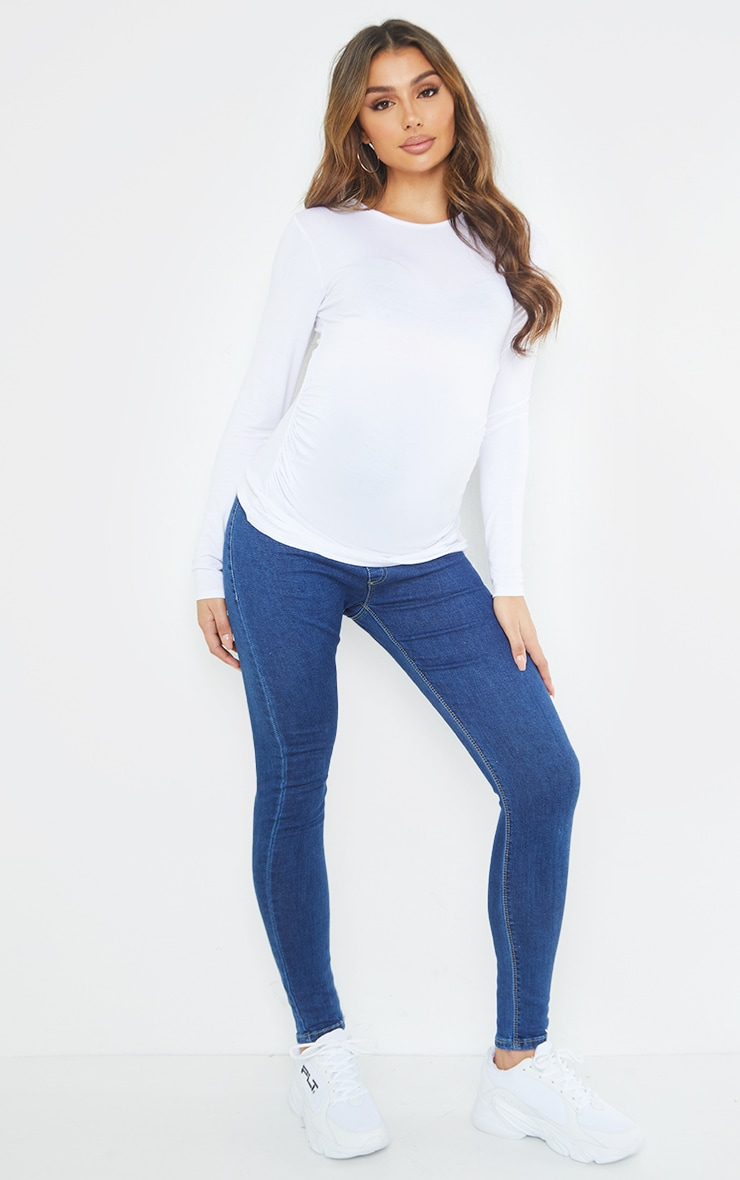 Maternity Mid Wash Pull On Skinny Jeans 1