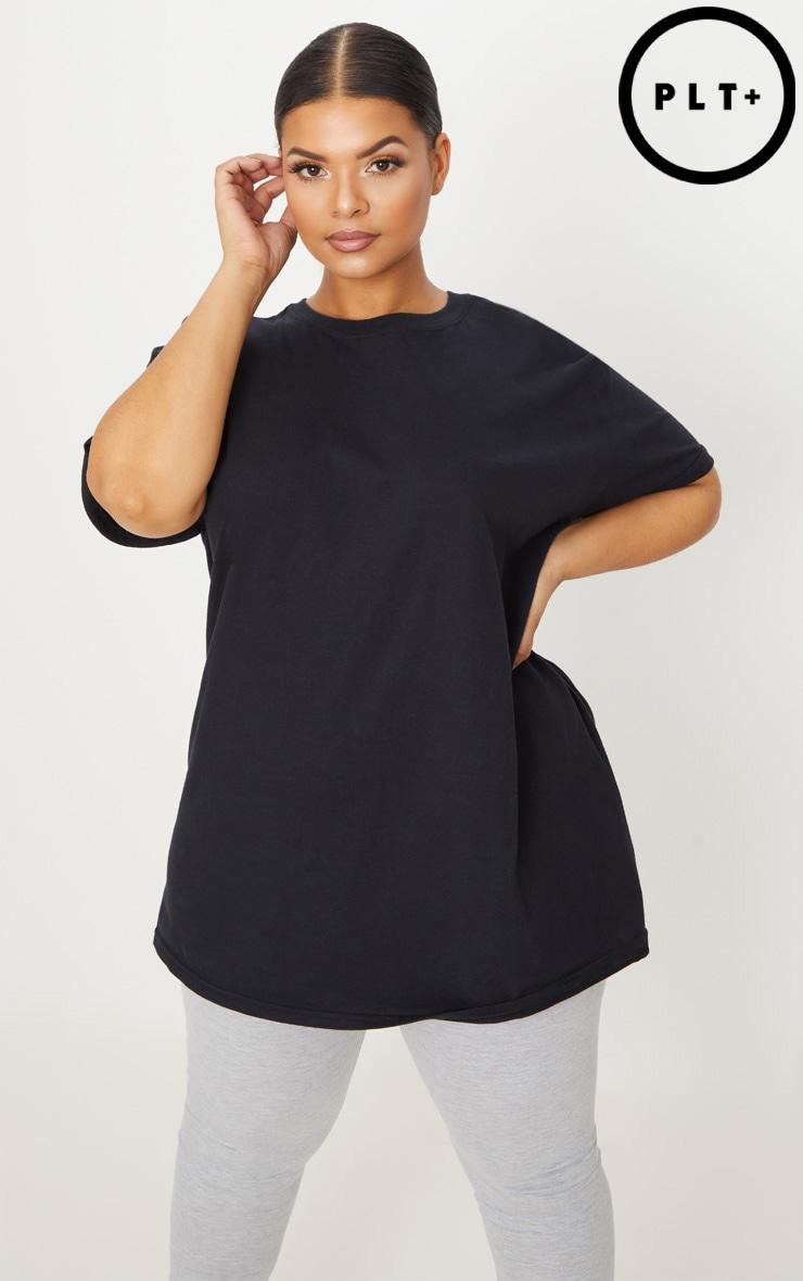 Plus Black Oversized Boyfriend T Shirt  1