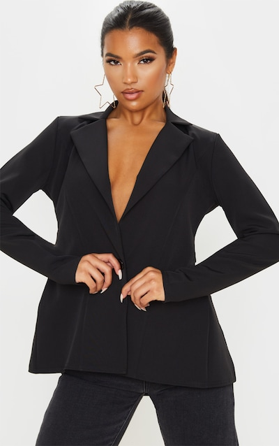 Black Woven Tie Back Bow Detail Blazer