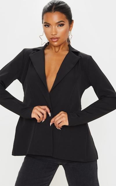 Black Woven Tie Back Bow Detail Blazer
