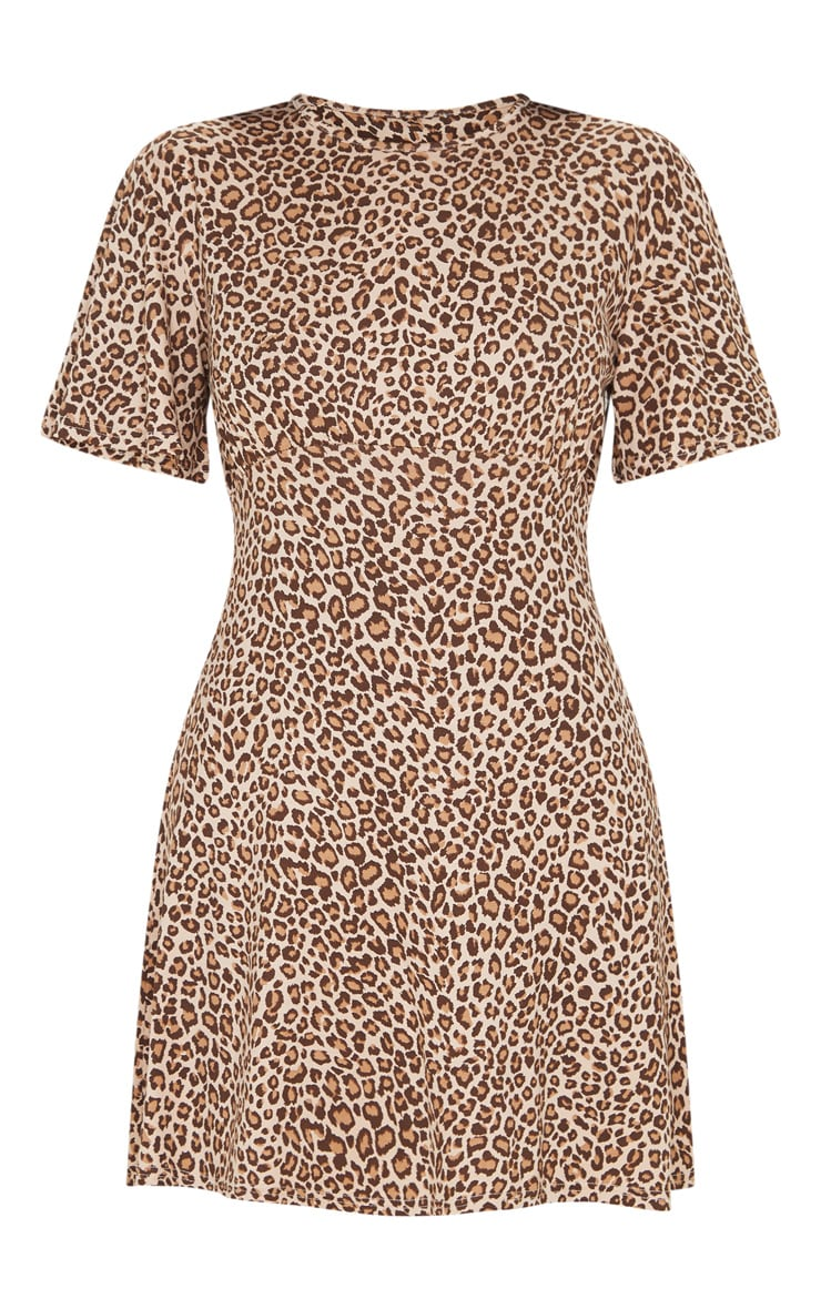 Brown Leopard Print Gathered Bust Shift Dress 3