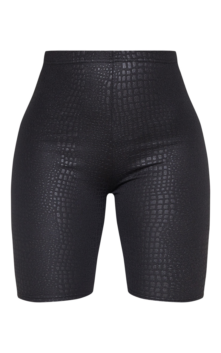 Black Croc Print Cycle Short 3