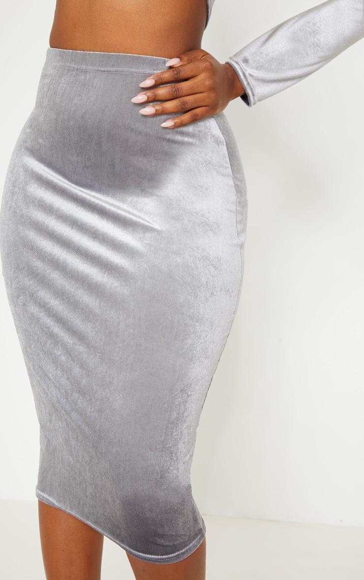 Shape Silver Velvet Midi Skirt Prettylittlething Qa