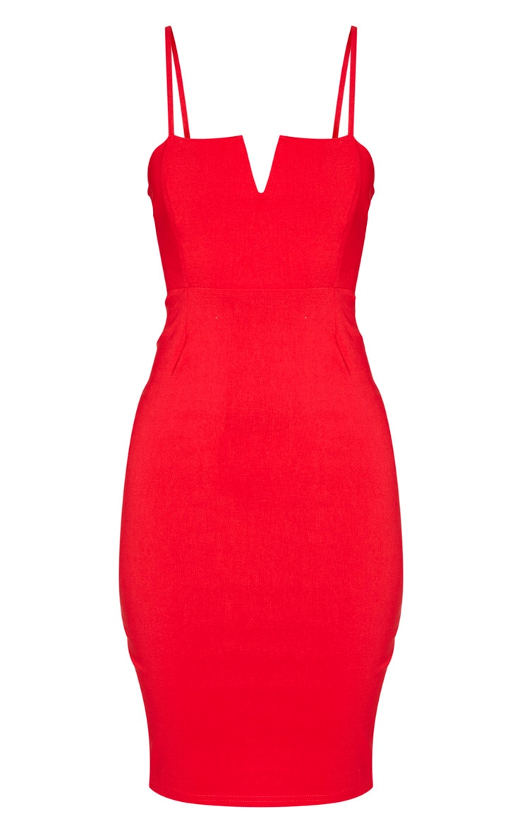 Red Woven V Detail Strappy Midi Dress 3