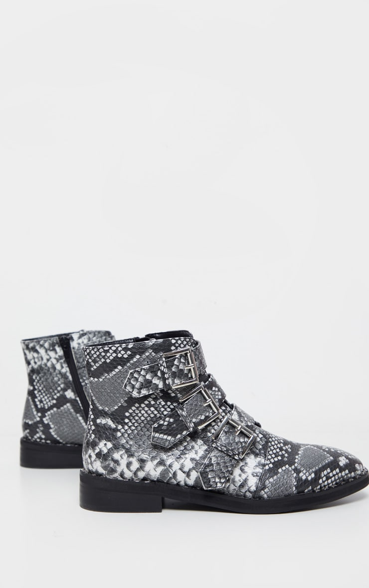 Snake Triple Buckle Ankle Boot 4