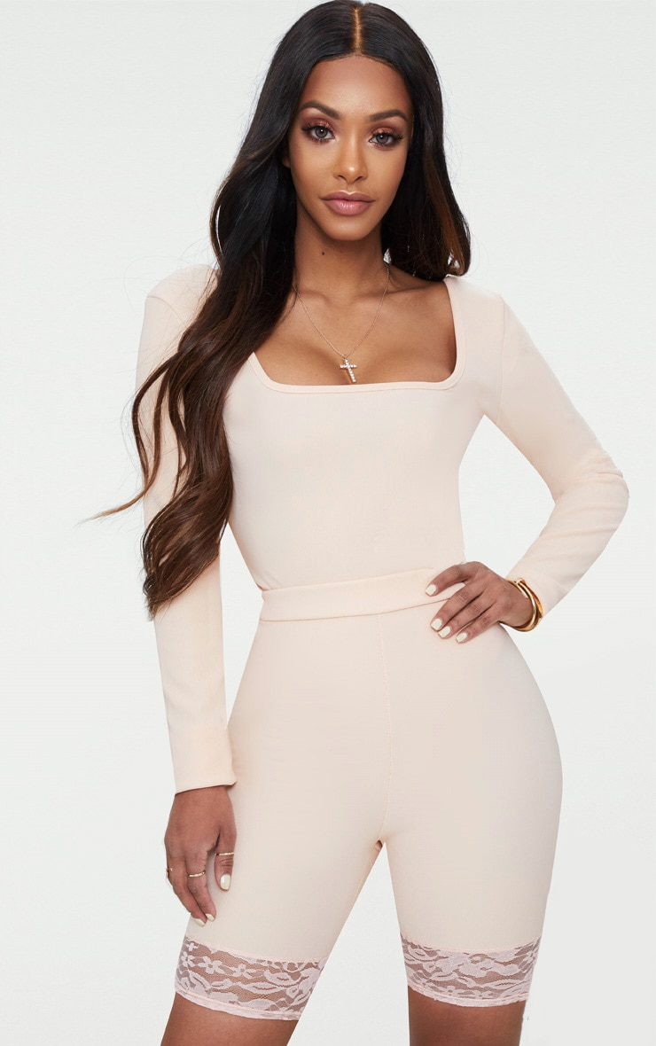 Shape Nude Ribbed Square Neck Bodysuit 1