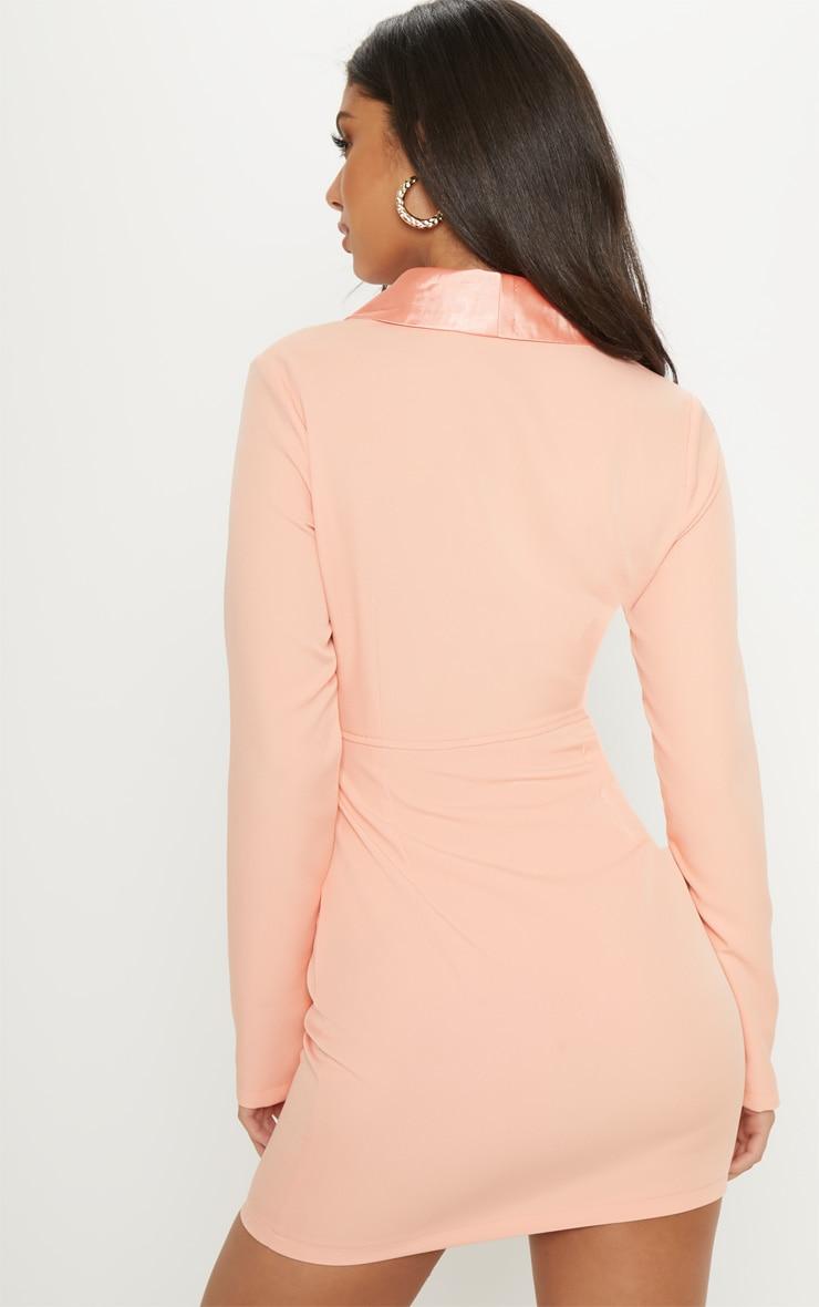 Peach Gold Button Satin Insert Cut Out Blazer Dress 2