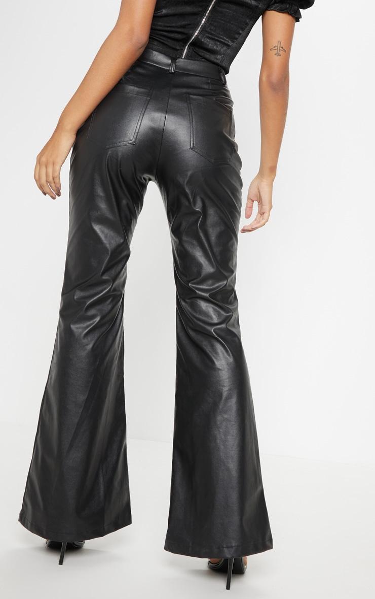 Black Faux Leather Lace Up Front Flare Leg Pants 4
