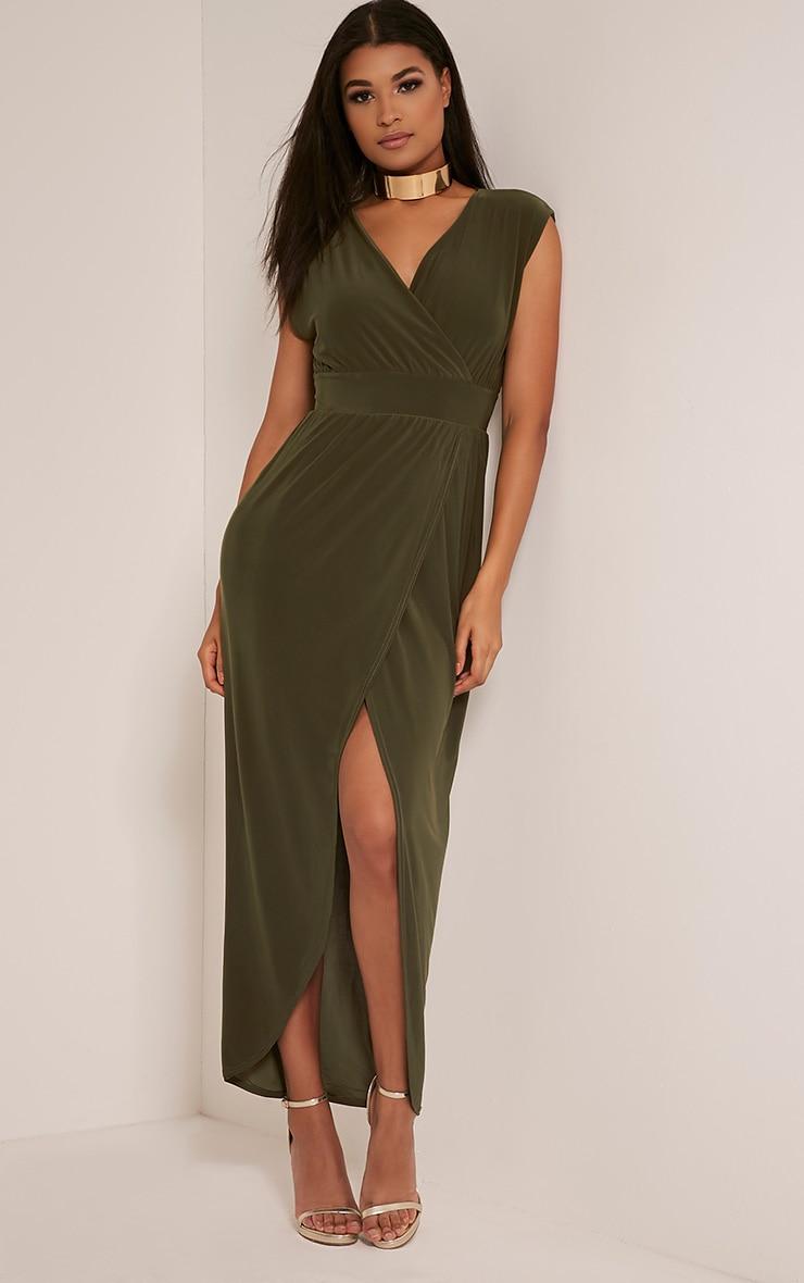 Marlisa Khaki Slinky Plunge Maxi Dress 4