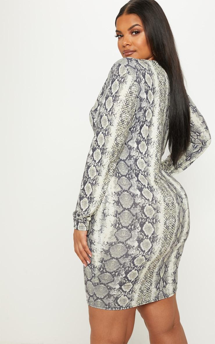 Plus Taupe Snake Print Plunge Bodycon Dress 2