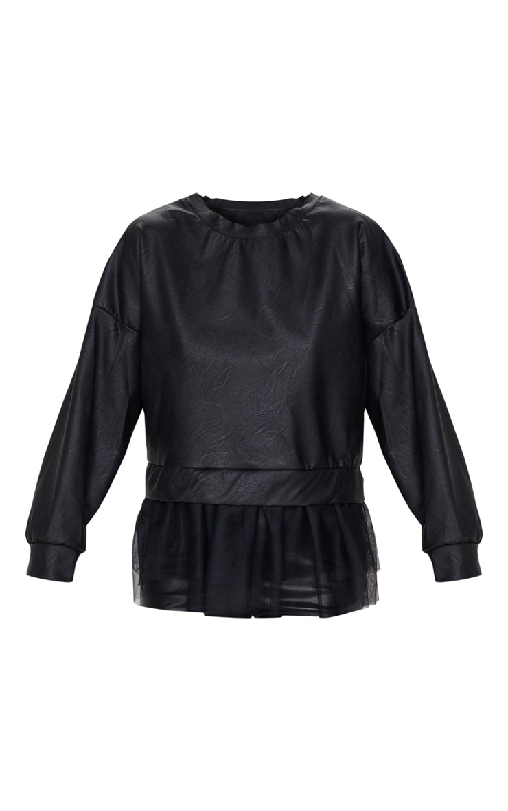 Black Faux Leather Tulle Peplum Long Top 4