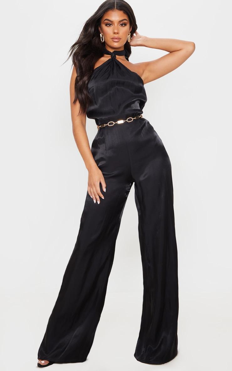 Black Knot Halterneck Shimmer Jumpsuit 1