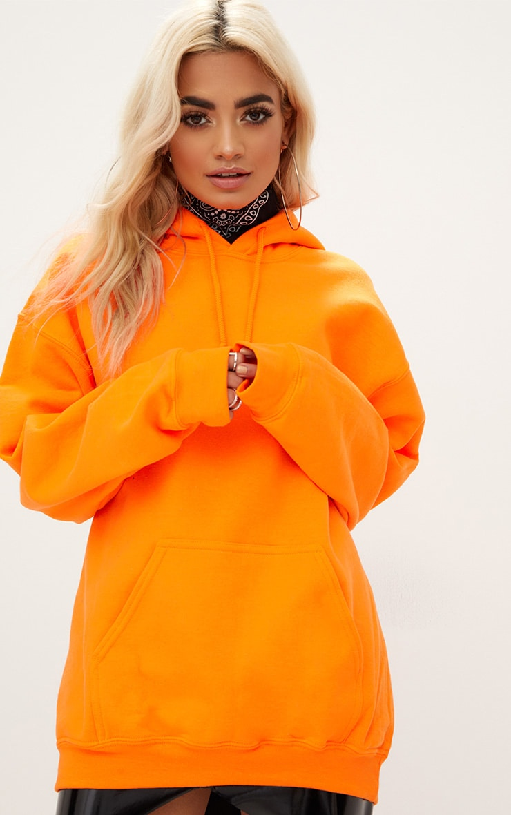 Orange I Don't Care Slogan Back Oversized Hoodie 2
