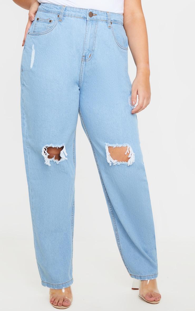 Plus Light Wash Knee Rip Straight Leg Jean  2