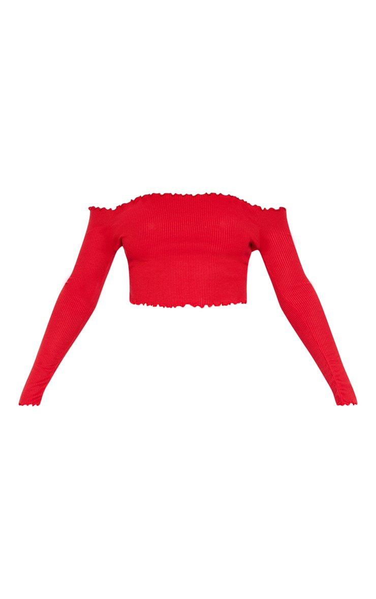 Red Frill Edge Crop Top 4