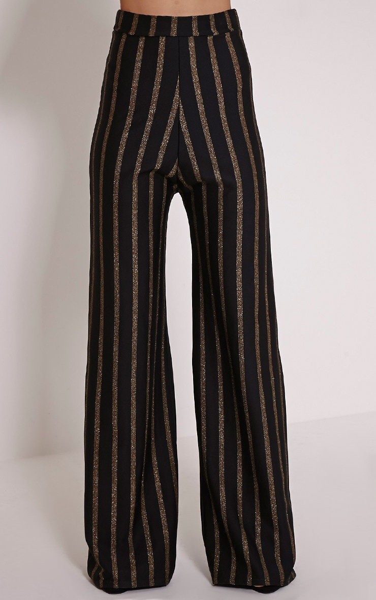 Isabel Black Metallic Stripe Palazzo Trousers 2