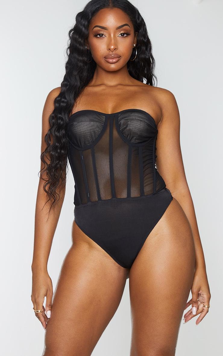 Black Mesh Corset Detail Bandeau Bodysuit 2