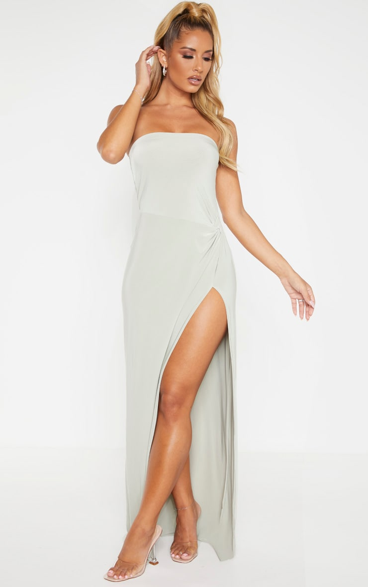 Sage Green Bandeau High Slit Maxi Dress 3