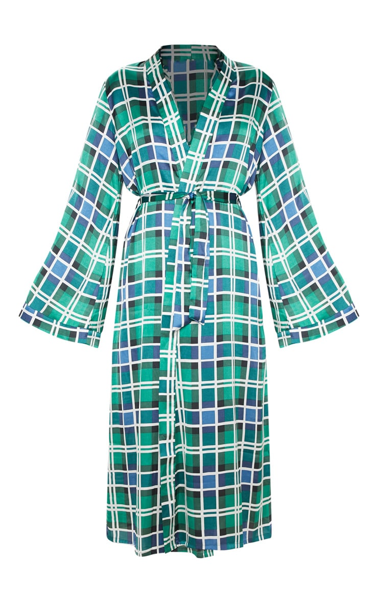 Green Check Print Long Sleeve Satin Robe 3