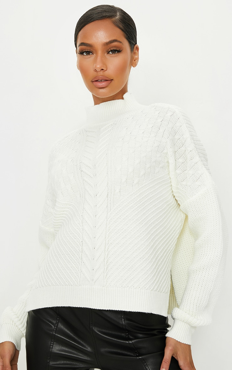 Cream Mixed Cable Knitted Turtle Neck Jumper 1