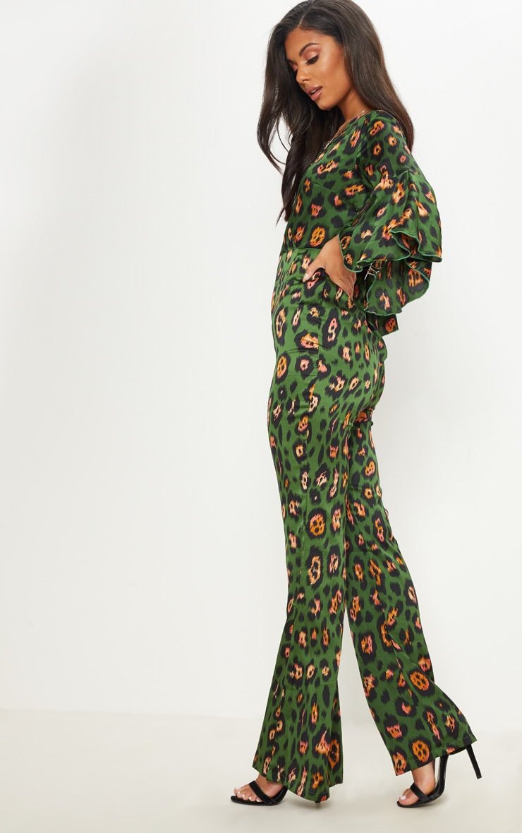 Green Leopard Print Flared Sleeve Jumpsuit 4