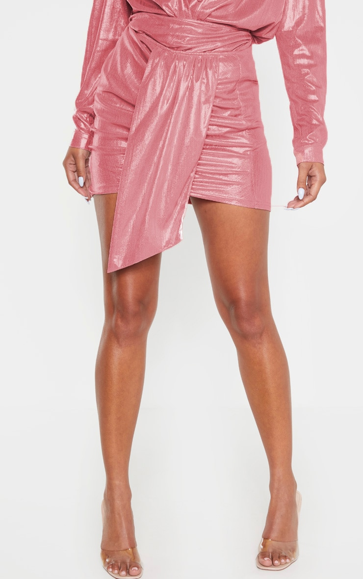 Pink Metallic Ruched Mini Skirt 2