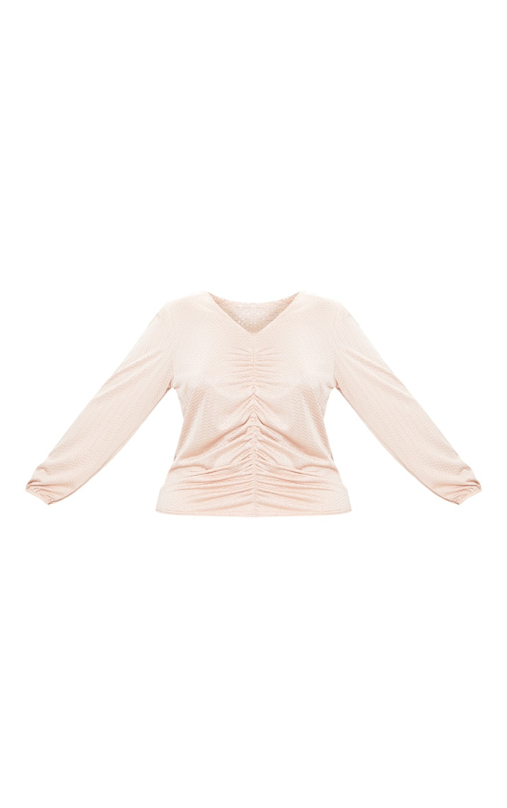 Plus Champagne Textured Plunge Top 3