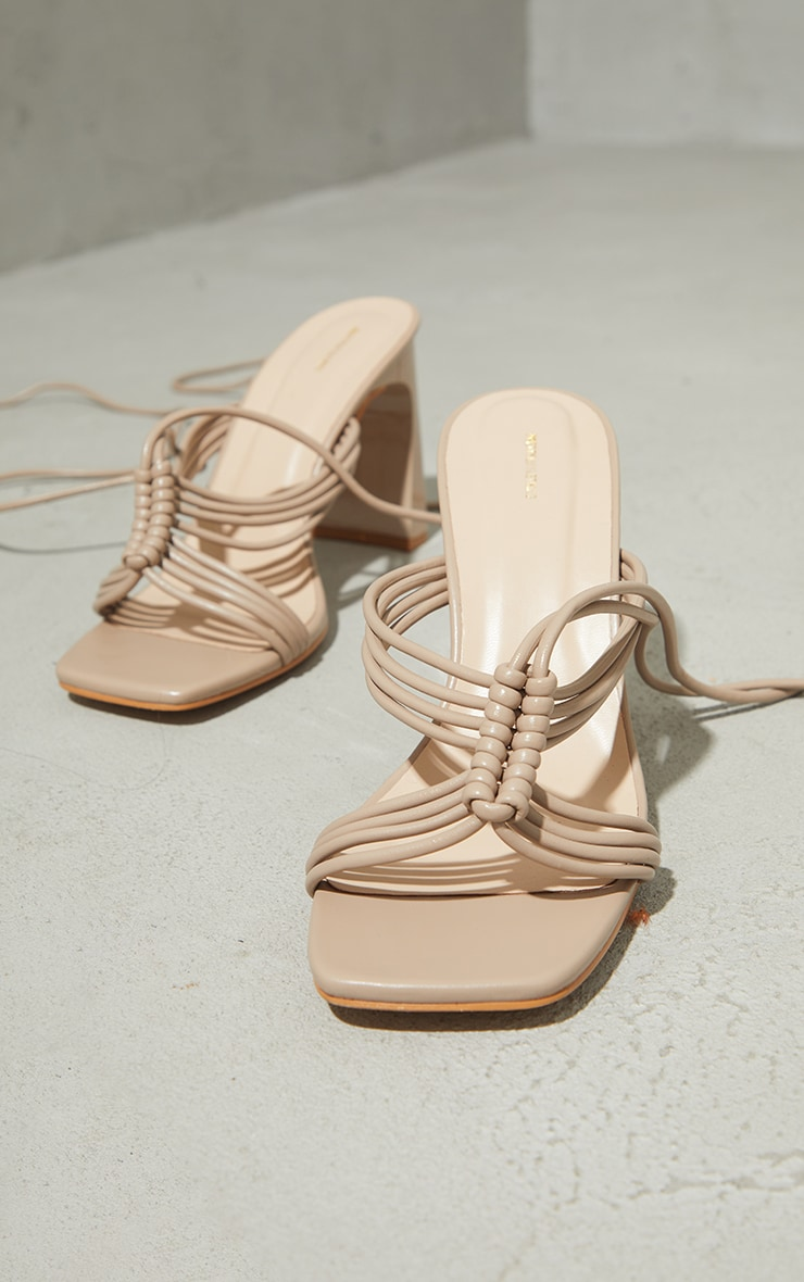 Stone PU Knot Lace Up Flat Mid Heeled Sandals 3