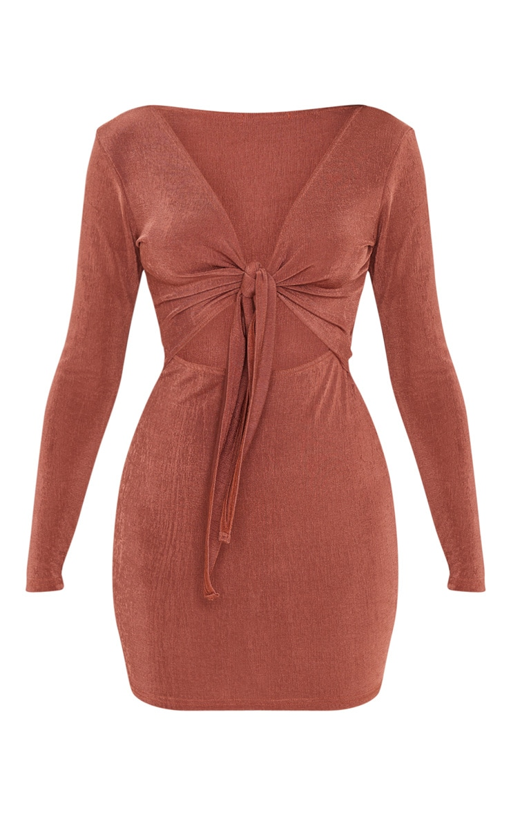 Chocolate Brown Textured Slinky Tie Front Bodycon Dress 3