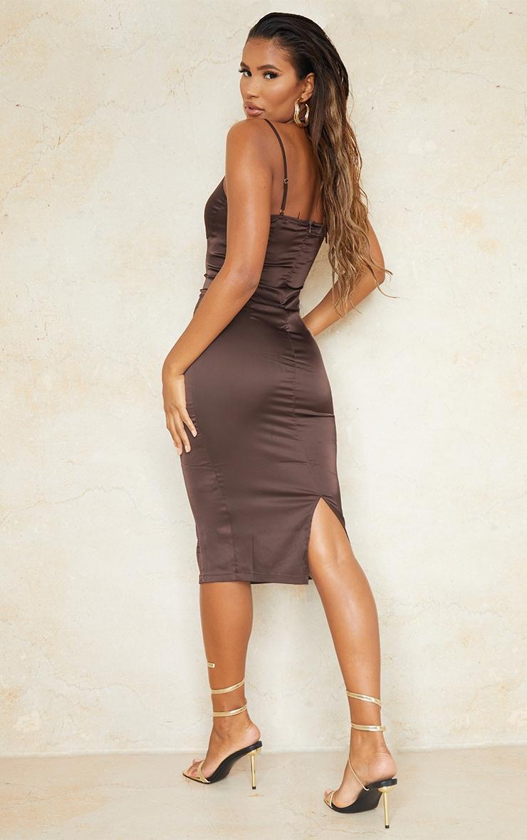 Chocolate Satin Strappy Halterneck Detail Split Hem Midi Dress 2