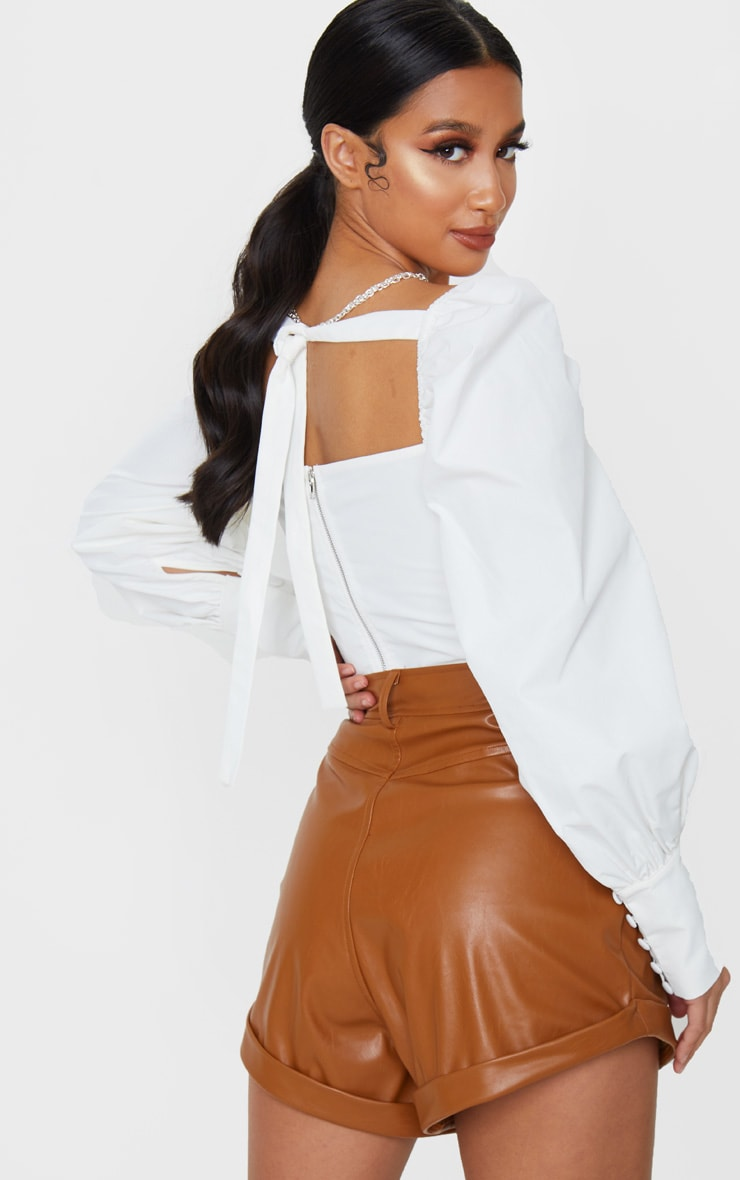 Petite White Tie Back Cup Detail Cropped Blouse 2