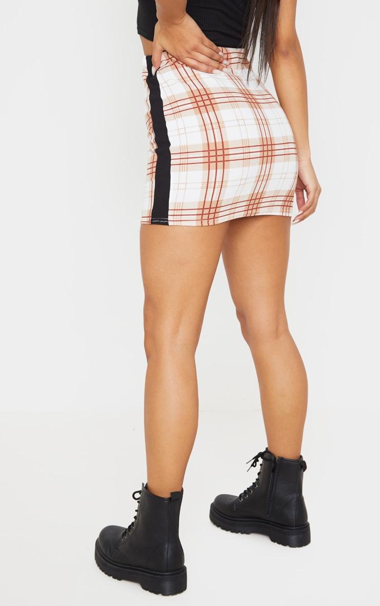 Rust Check Contrast Panel Mini Skirt 4