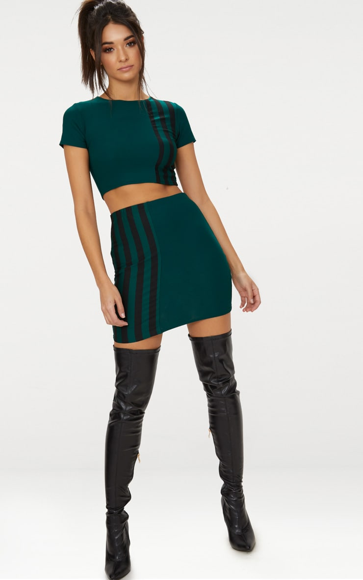 Emerald Green Stripe Panel Mini Skirt  5