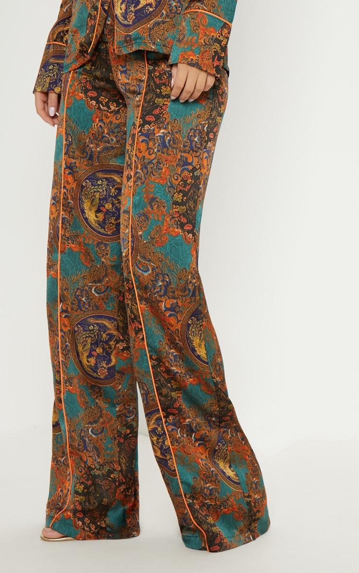 Multi Paisley Print Wide Leg Pants 2