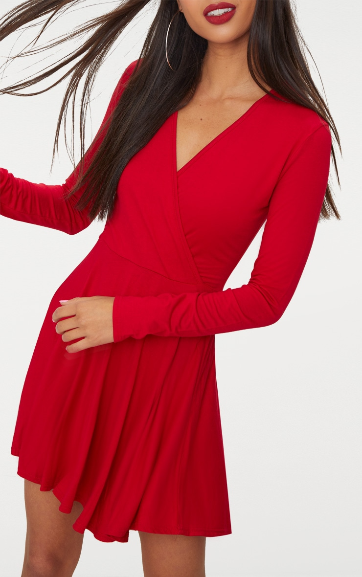 Red Jersey Wrap Long Sleeve Skater Dress 5