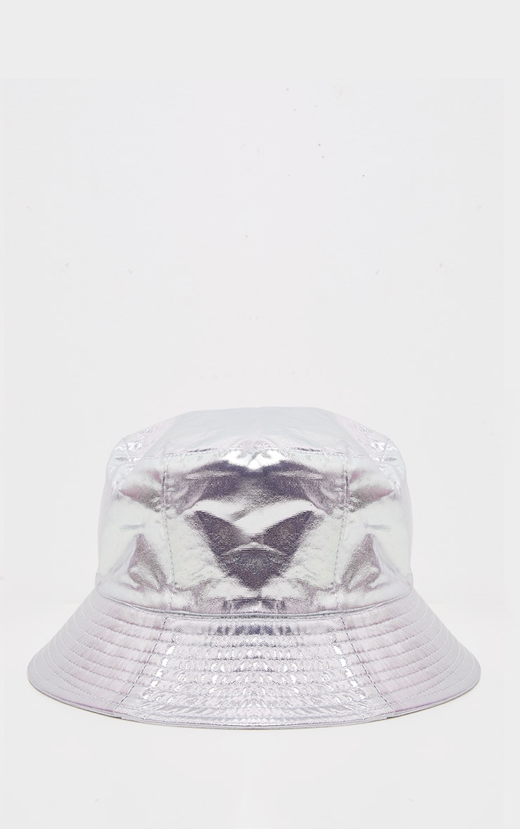 Silver Metallic Bucket Hat 2